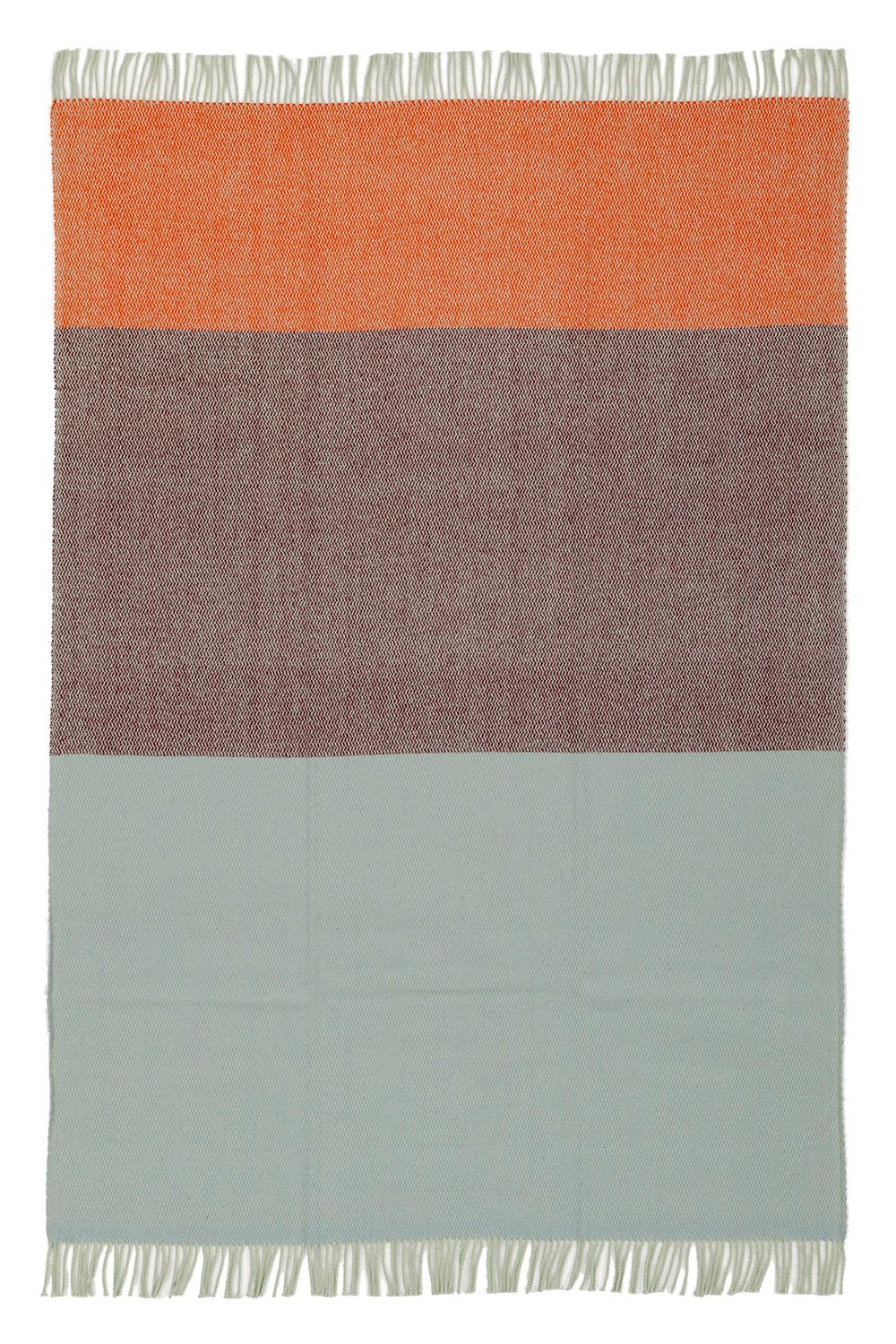 wool blanket in plum, orange and blue color with fringes, spread out