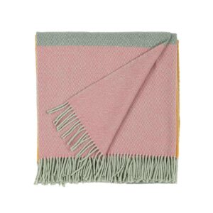 folded wool blanket in rose and mint green color with fringes