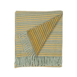 folded wool blanket with yellow and green stripes and fringes