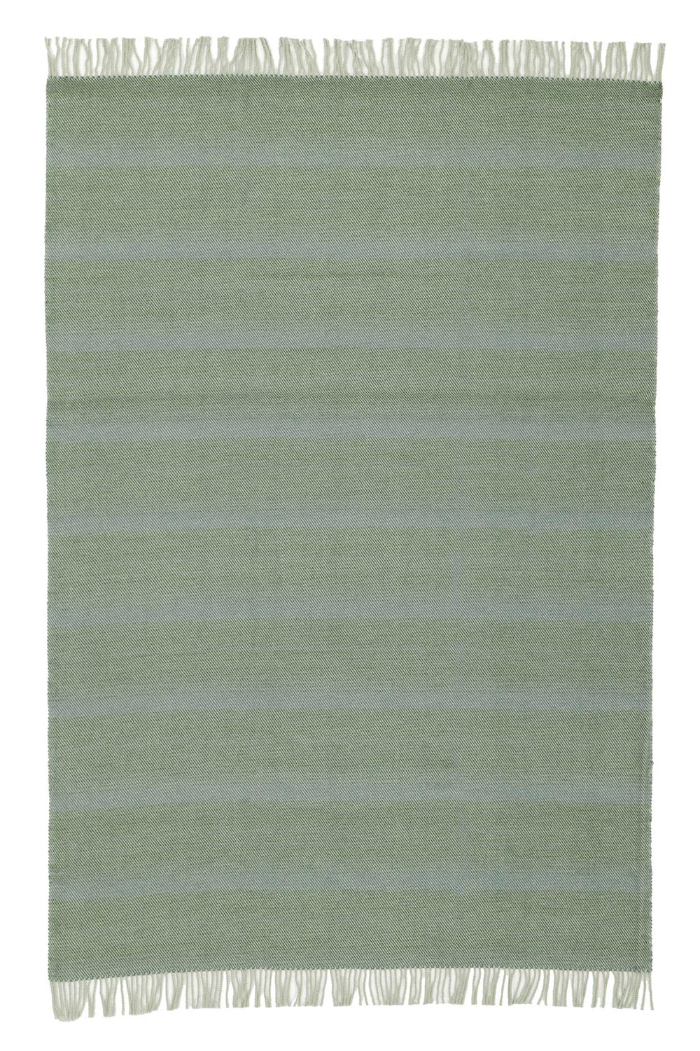 wool blanket in green color with fringes, spread out