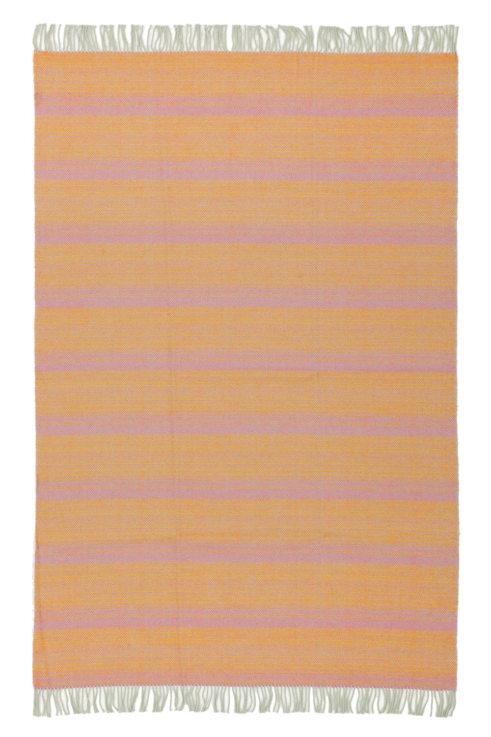 wool blanket in rose and yellow color with fringes, spread out