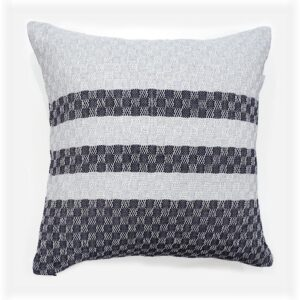 handwoven cushion with navy blue and grey stripes