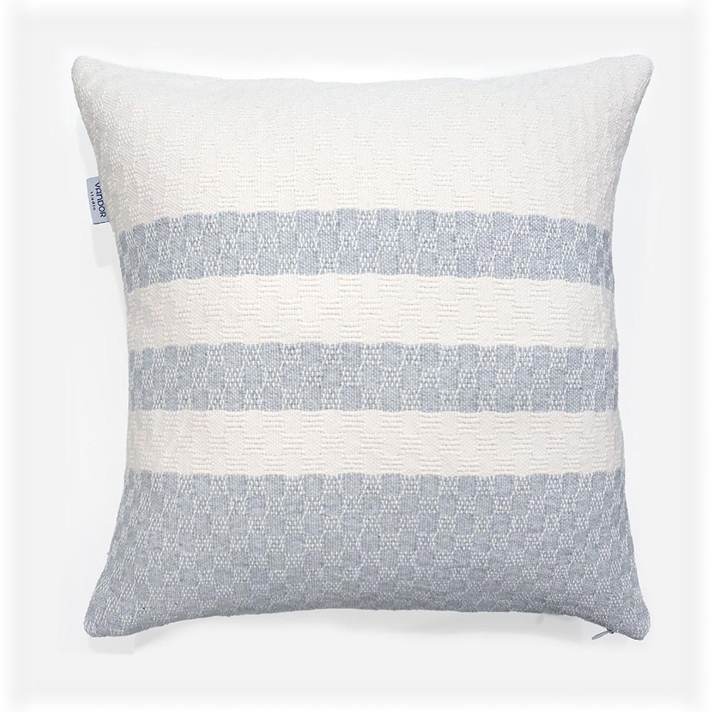 handwoven cushion with white and grey stripes