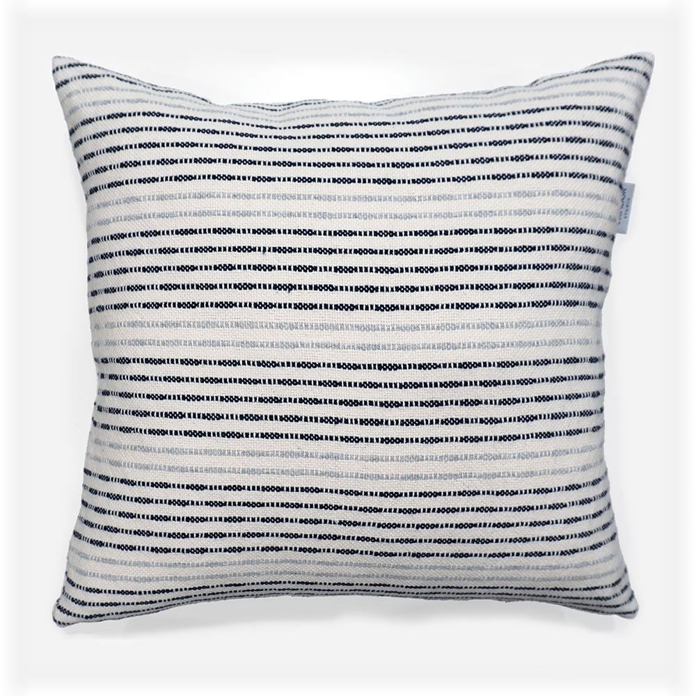 navy blue and grey striped cotton throw pillow