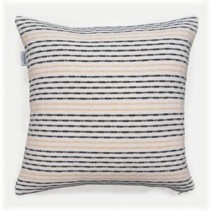 navy and peach striped cotton cushion