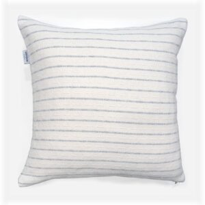 white and grey striped throw pillow