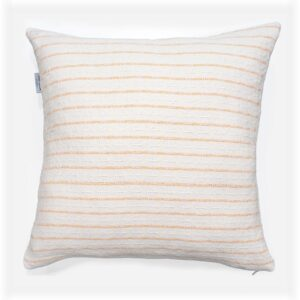 white and peach striped throw pillow