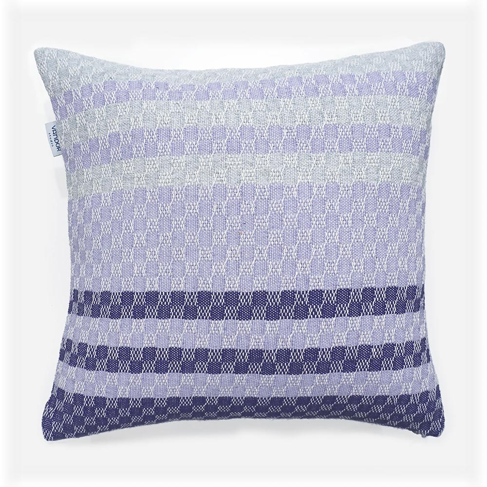 purple and grey striped cotton decorative pillow