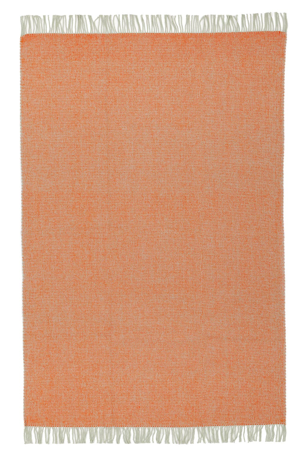 wool blanket in orange color with fringes, spread out