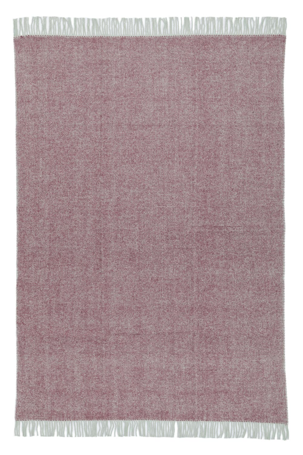 wool blanket in plum purple color with fringes, spread out