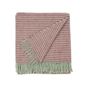 folded wool blanket in rose and purple color with fringes