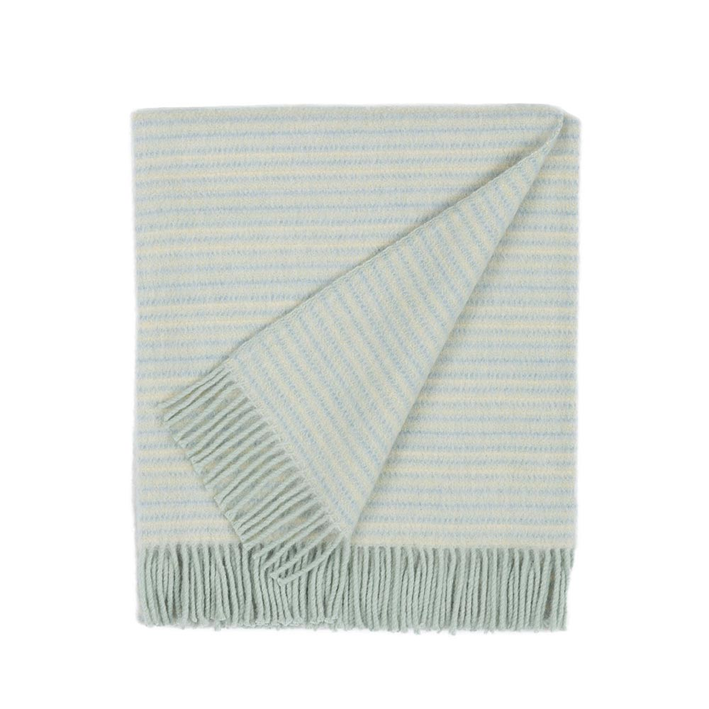 folded wool blanket in mint color with fringes